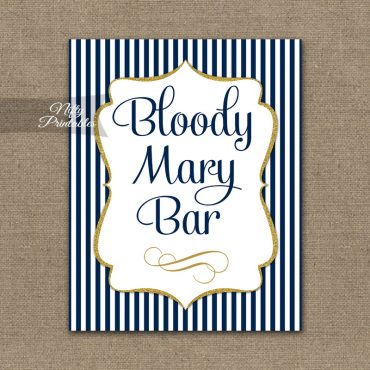 Bloody Mary Bar Sign - Navy Blue & Gold