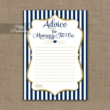 Advice For Mommy Baby Shower Game - Navy Blue & Gold