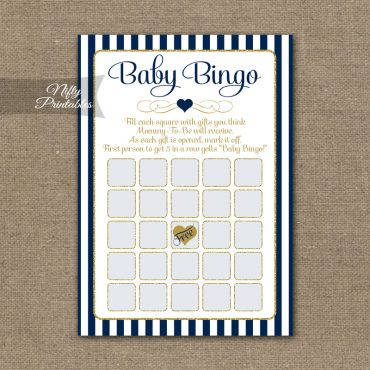 Baby Shower Bingo Game - Navy Blue & Gold
