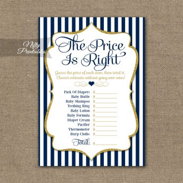 Price Is Right Baby Shower Game - Navy Blue & Gold