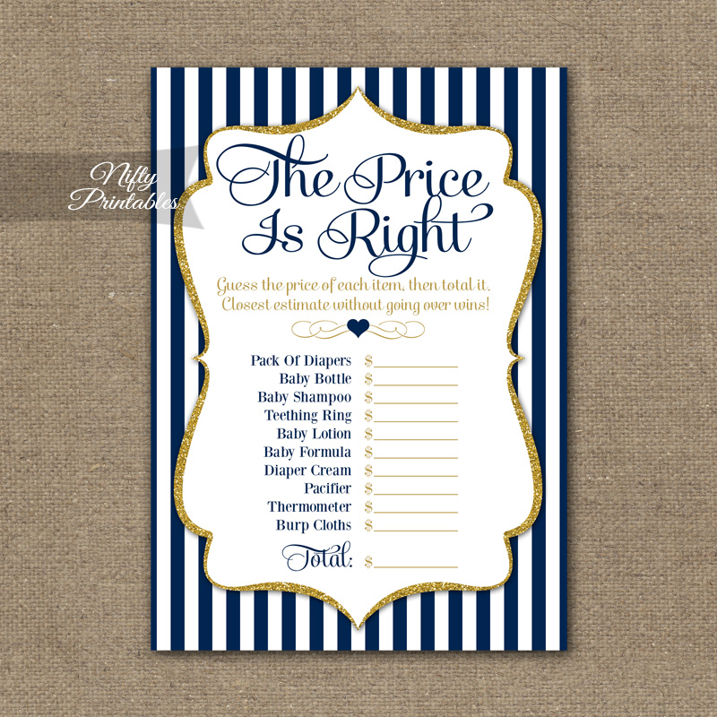 Price Is Right Baby Shower Game Navy Blue Gold Nifty Printables