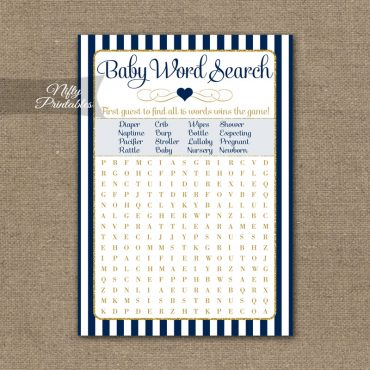 Baby Shower Word Search Game - Navy Blue & Gold