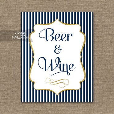 Beer And Wine Sign - Navy Blue & Gold
