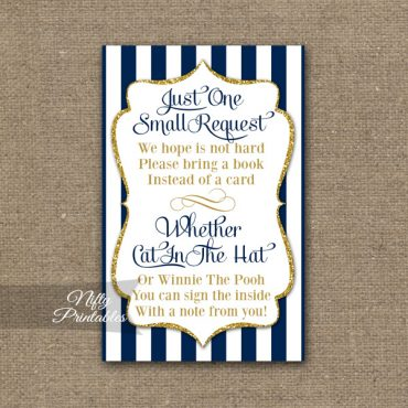Bring A Book Baby Shower Insert - Navy Blue & Gold