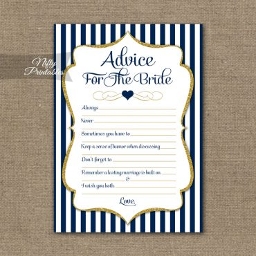 Bridal Shower Advice Cards - Navy Blue & Gold