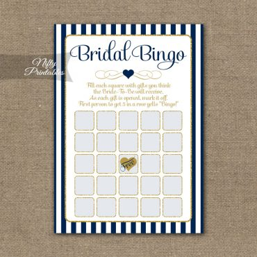 Bridal Shower Bingo Game - Navy Blue & Gold