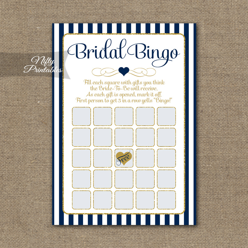photo relating to Bridal Shower Bingo Printable referred to as Bridal Shower Bingo Video game - Armed forces Blue Gold