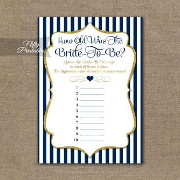 How Old Is The Bride Shower Game - Navy Blue & Gold