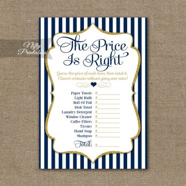 Price Is Right Bridal Shower Game - Navy Blue & Gold