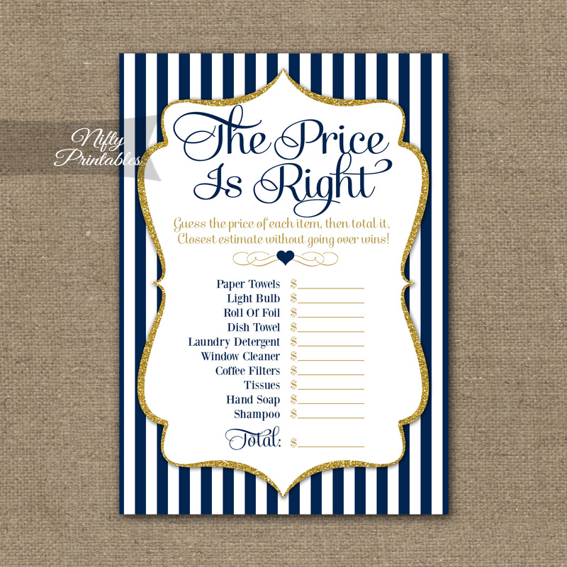 66aa5ab4bdba Price Is Right Bridal Shower Game - Navy Blue   Gold - Nifty Printables