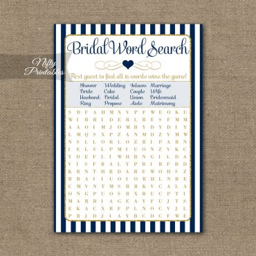 Bridal Shower Word Search Game - Navy Blue & Gold