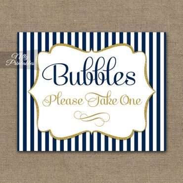 Bubbles Wedding Sign - Navy Blue & Gold
