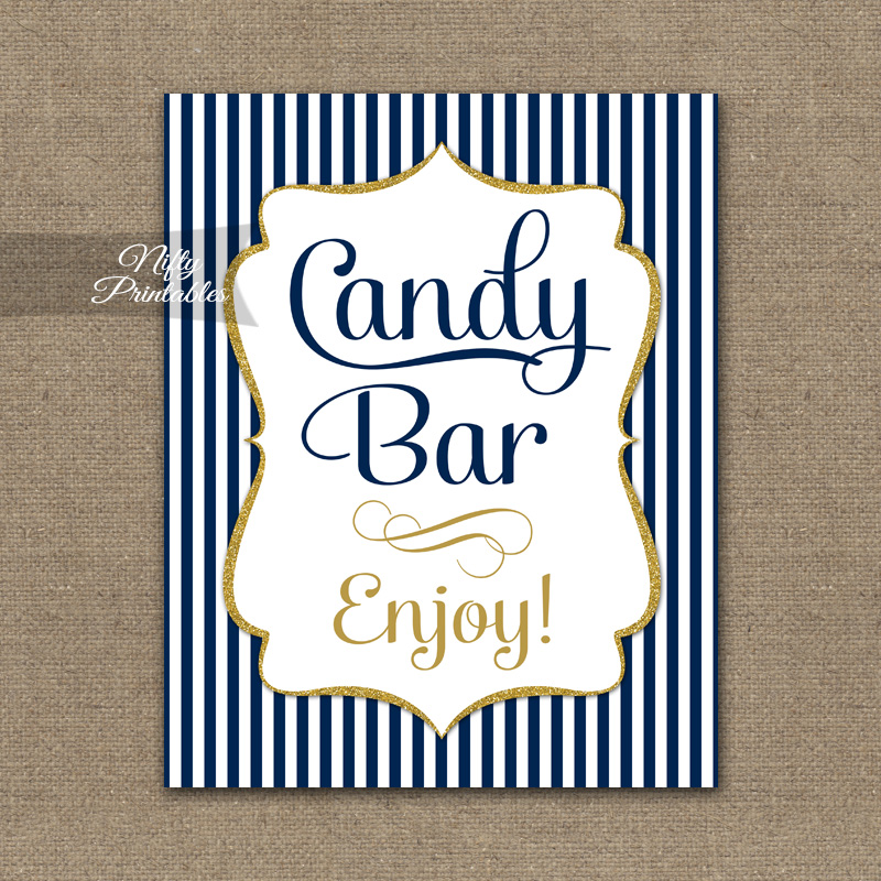 Candy Buffet Sign Navy Blue Amp Gold Nifty Printables