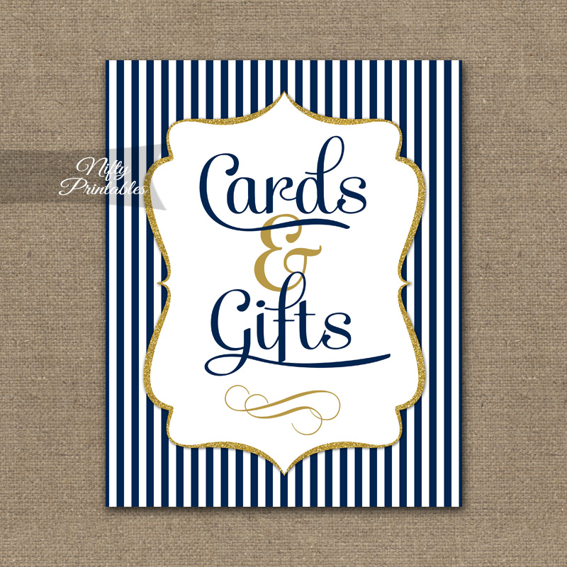 Cards & Gifts Sign - Navy Blue & Gold