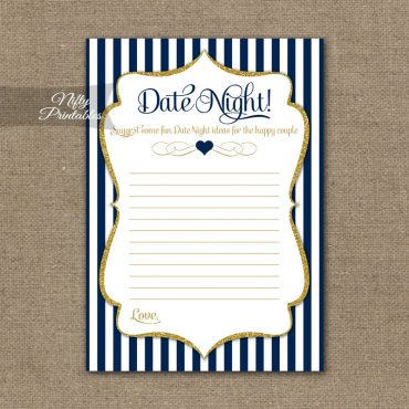 Bridal Shower Date Night Ideas - Navy Blue & Gold