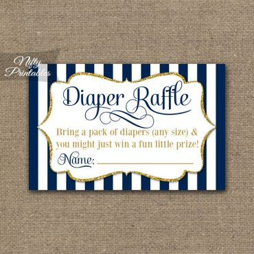 Diaper Raffle Baby Shower - Navy Blue & Gold