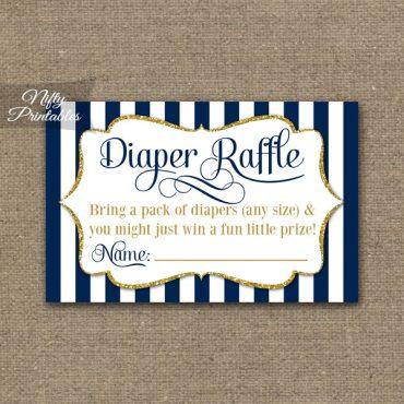 Diaper Raffle Baby Shower - Navy Blue & Gold