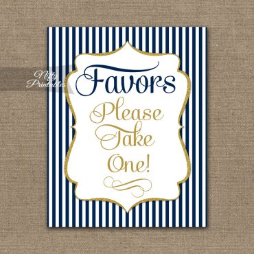 Favors Sign - Navy Blue & Gold