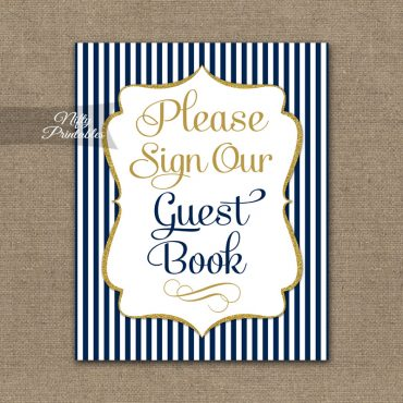 Guest Book Sign - Navy Blue & Gold