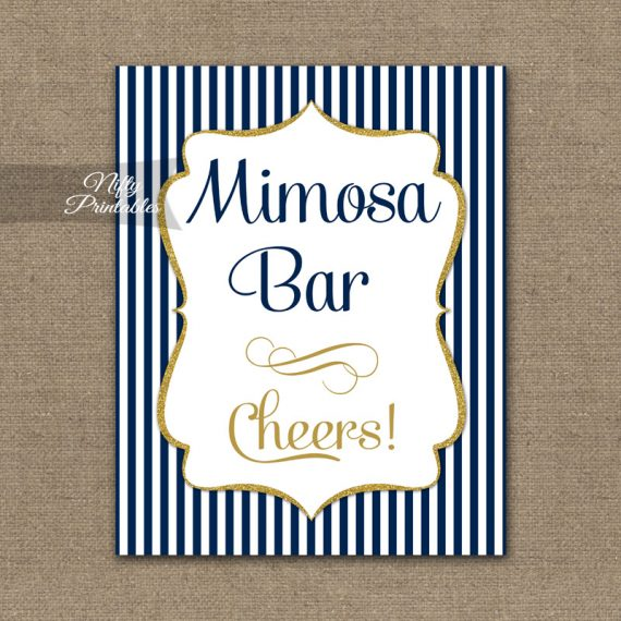 Mimosa Bar Sign - Navy Blue & Gold