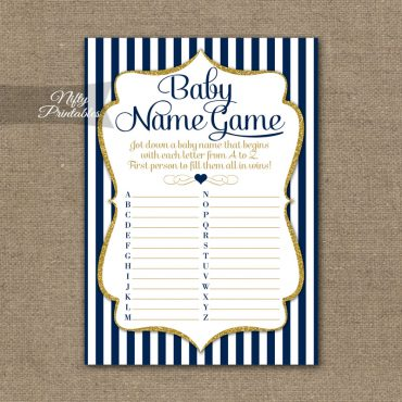 Name Game Baby Shower - Navy Blue & Gold