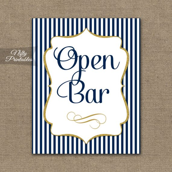 Open Bar Sign - Navy Blue & Gold