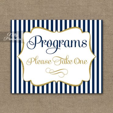 Programs Please Take Sign - Navy Blue & Gold