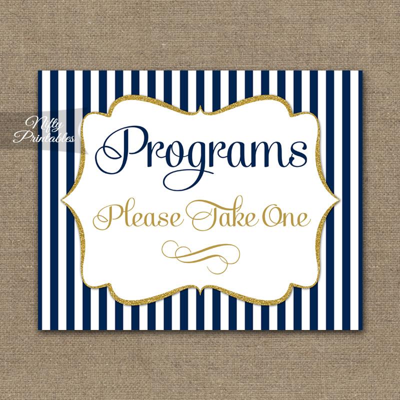 Programs Please Take Sign - Navy Blue & Gold
