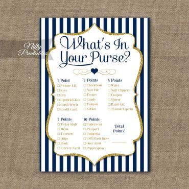 What's In Your Purse Game - Navy Blue & Gold