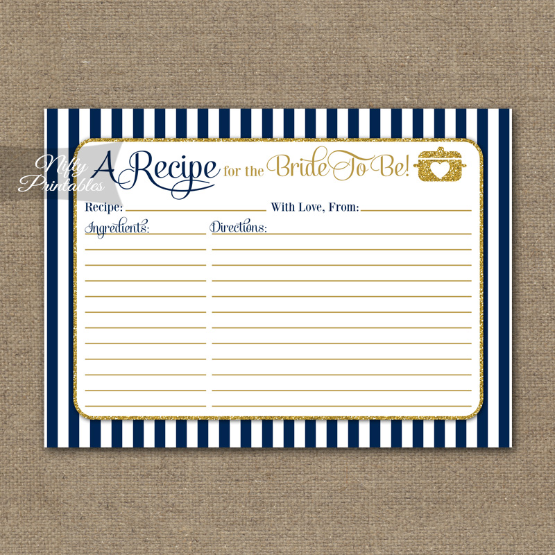Bridal Shower Recipe Cards - Navy Blue & Gold