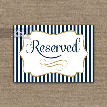 Reserved Sign - Navy Blue & Gold