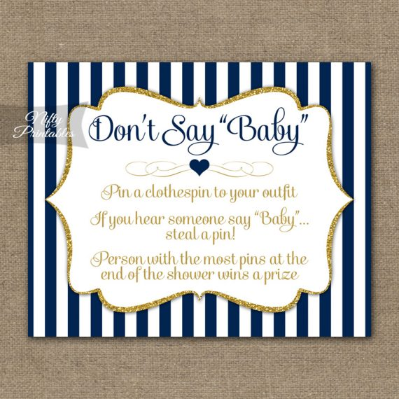 Don't Say Baby Shower Game - Navy Blue & Gold