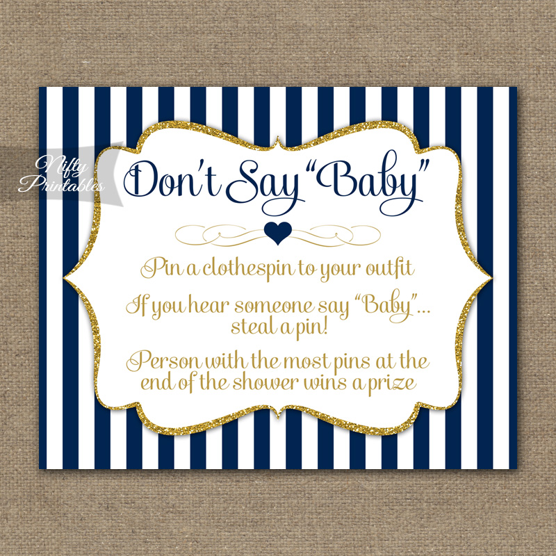 photograph about Free Don't Say Baby Printable identify Dont Say Little one Shower Recreation - Military services Blue Gold