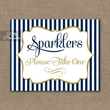 Sparklers Sign - Navy Blue & Gold