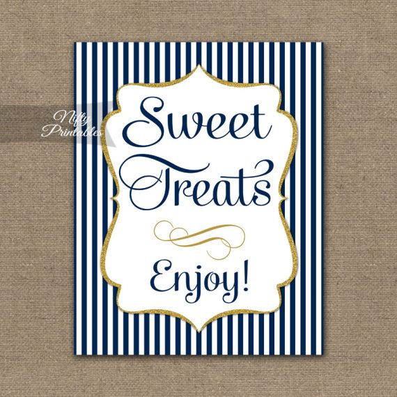 Sweet Treats Dessert Sign - Navy Blue & Gold