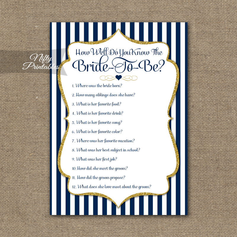 How Well Do You Know The Bride - Navy Blue & Gold