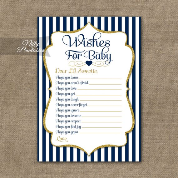 Wishes For Baby Shower Game - Navy Blue & Gold