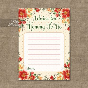 Advice For Mommy Baby Shower Game - Autumn Floral