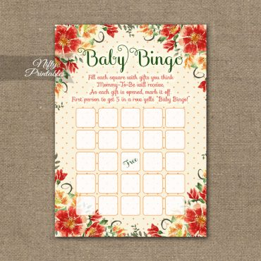 Baby Shower Bingo Game - Autumn Floral