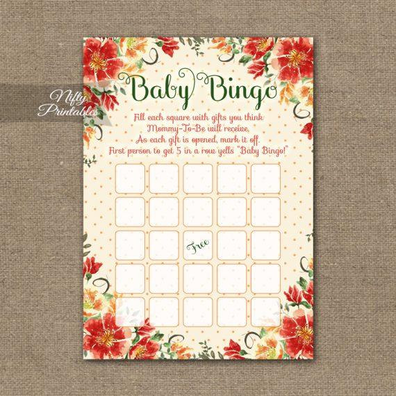 Baby Shower Bingo Game - Autumn Floral
