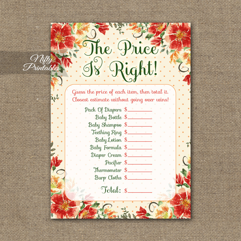 Price Is Right Baby Shower Game - Autumn Floral