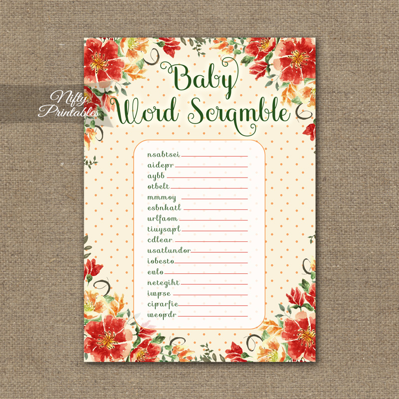 Baby Shower Word Scramble Game - Autumn Floral
