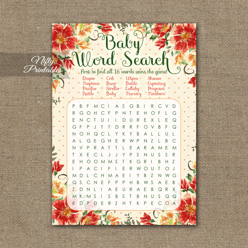 Baby Shower Word Search Game - Autumn Floral