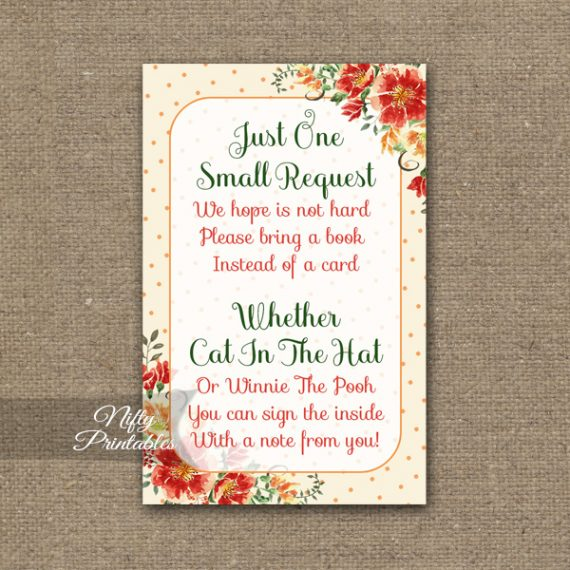 Bring A Book Baby Shower Insert - Autumn Floral