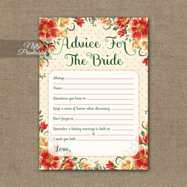 Bridal Shower Advice Cards - Autumn Floral