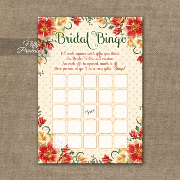 Bridal Shower Bingo Game - Autumn Floral