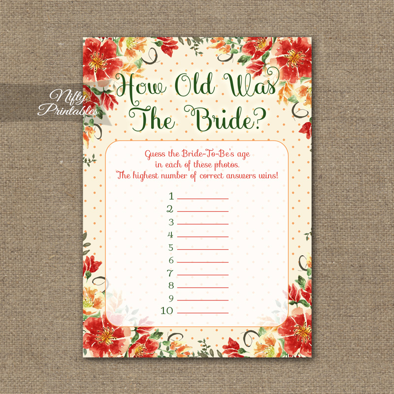 How Old Is The Bride Shower Game - Autumn Floral