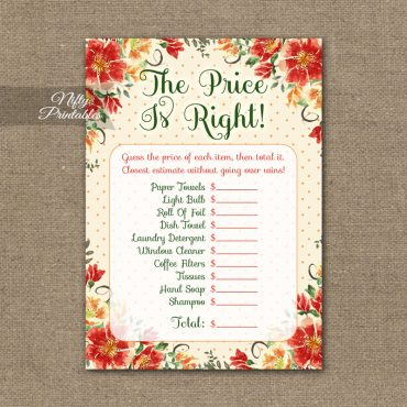 Price Is Right Bridal Shower Game - Autumn Floral
