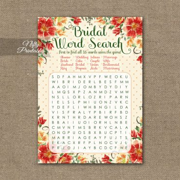 Bridal Shower Word Search Game - Autumn Floral