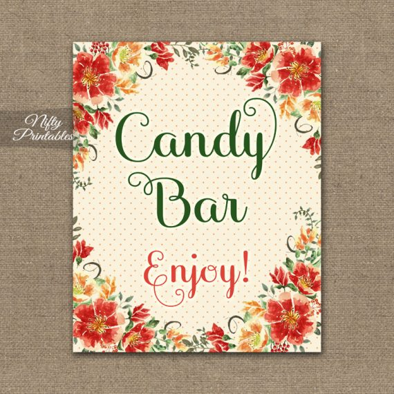 Candy Buffet Sign - Autumn Floral